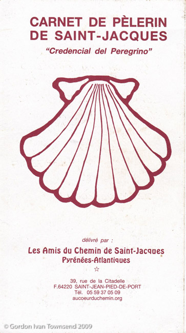 Pilgrim's Credential (front cover) - issued by Friends of El Camino de Santiago - SJPP