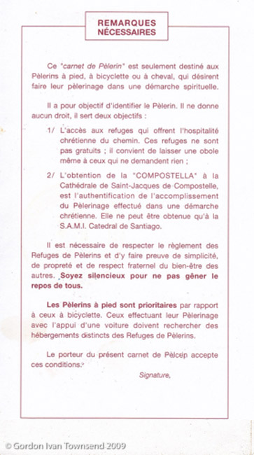 Pilgrim's Credential (pages 7&8) - issued by Friends of El Camino de Santiago - SJPP