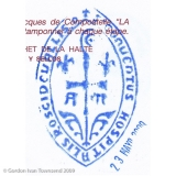 "Pilgrim's Stamp: ""S'CONVENTUS HOSPITALIS ROSCIDEVALLIS.o"" - Monastery & Albergue - Roncesvalles - Day 1"