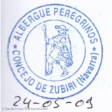 "Pilgrim's Stamp: ""ALBERGUE PEREGRINOS - CONCEJO DE ZUBIRI (Navarra)"" - Municipal Albergue - Zubiri - Day 2"