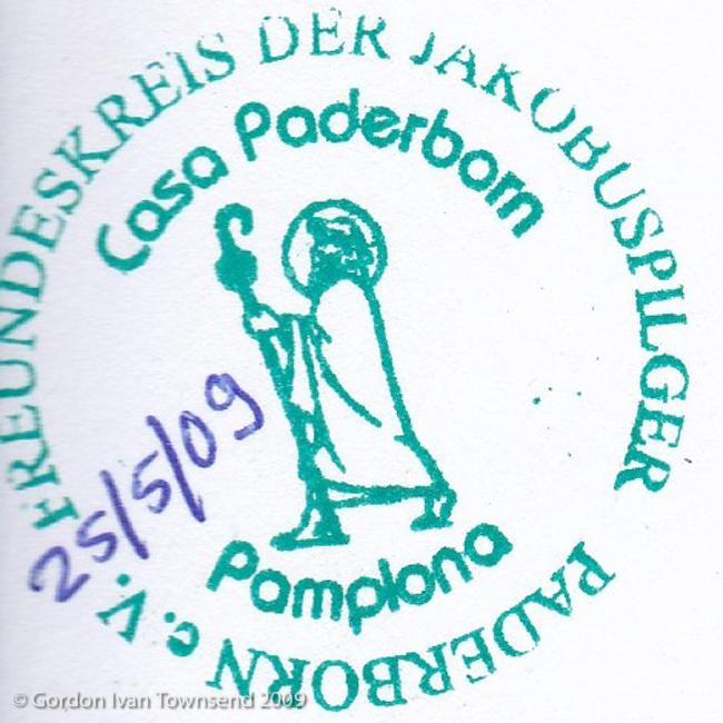 "Pilgrim's Stamp: ""FREUNDESKREIS DER JAKOBUSPILGER - PADERBORN e.V. - Casa Paderborn - Pamplona"" - Pamplona - Day 3"