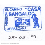 """Pilgrim's Stamp: """"EL CAMINO - PENSION - 'CASA SANGALO' - LARRASOAÑA"""" - Larrasoaña - Day 3"""