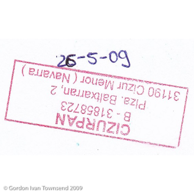 "Pilgrim's Stamp: ""CIZURPAN - Plza. Baltxarran No. 2 - 31190 Cizur Menor (Navarra)"" - Cizur Menor - Day 4"