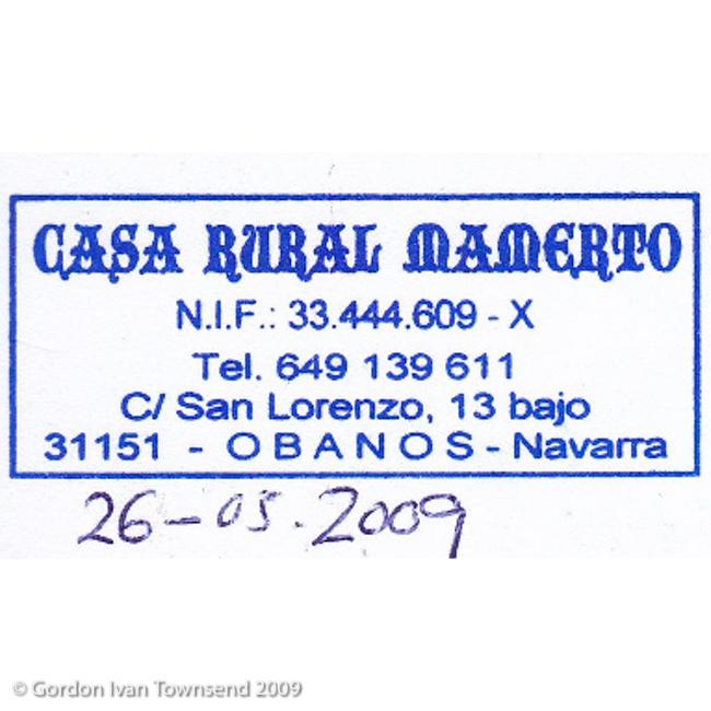 """Pilgrim's Stamp: """"CASA RURAL MAMERTO - Tel. 649 139 611 - C/ San Lorenzo, 13 bajo - 31151 - OBANOS - Navarra"""" - Obanos - Day 4"""