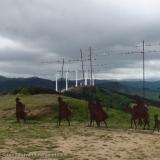 View WNW from path (El Camino) towards sculpture & wind-turbines along ridge-line - Alto de Perdón - Day 4
